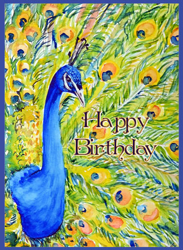 """Peacock Birthday"" by Amie Kieffer for Salutare. Used with permission."